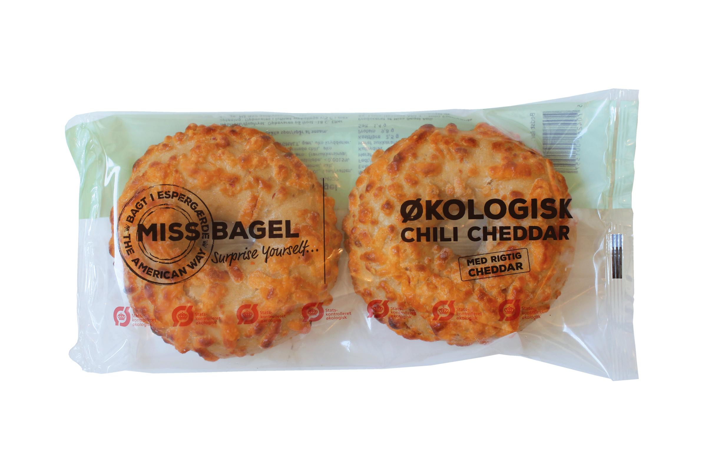 2-pak Økologisk chili/cheddar bagel