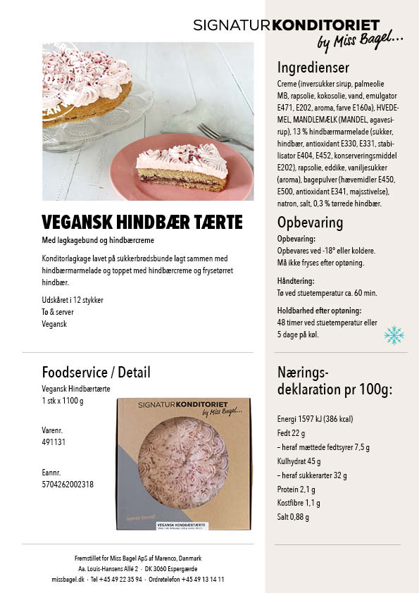 Vegansk Hindbærtærte